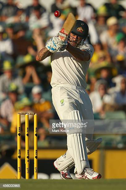 Mitchell Johnson of Australia bats during day one of the Third Ashes Test Match between Australia and England at WACA on December 13 2013 in Perth...