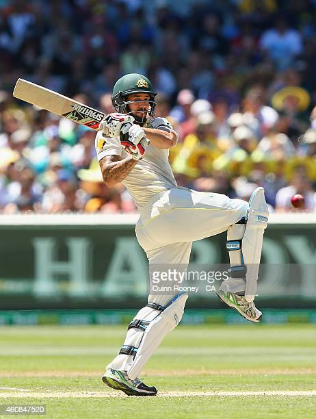 Mitchell Johnson of Australia bats during day two of the Third Test match between Australia and India at Melbourne Cricket Ground on December 27,...