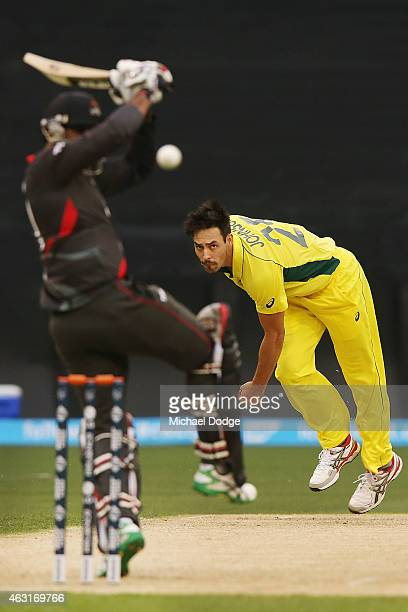 Mitchell Johnson of Australia bowls a bouncer to Amjad Ali of UAE during the Cricket World Cup warm up match between Australia and the United Arab...