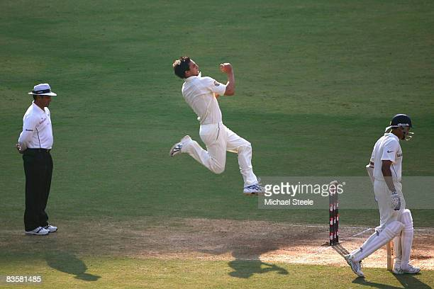 Mitchell Johnson of Australia bowls during day one of the Fourth Test match between India and Australia at the Vidarbha Cricket Association Stadium...