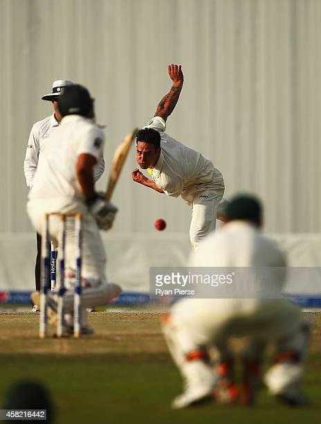 Mitchell Johnson of Australia bowls during Day Three of the Second Test between Pakistan and Australia at Sheikh Zayed Stadium on November 1 2014 in...