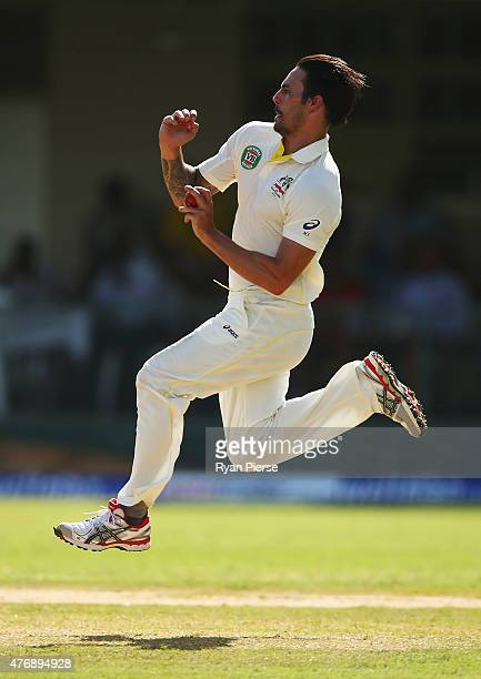 Mitchell Johnson of Australia bowls during day two of the Second Test match between Australia and the West Indies at Sabina Park on June 12 2015 in...