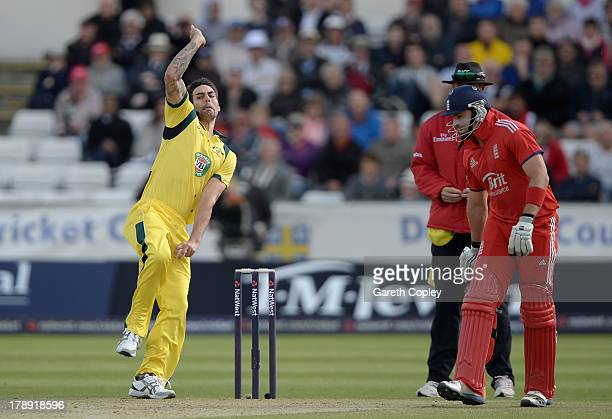 Mitchell Johnson of Australia bowls during the 2nd NatWest Series T20 match between England and Australia at Emirates Durham ICG on August 31 2013 in...