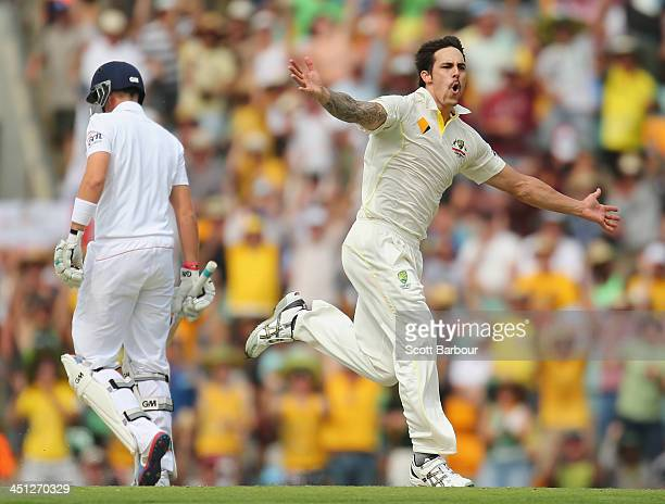 Mitchell Johnson of Australia celebrates after dismissing Joe Root of England during day two of the First Ashes Test match between Australia and...