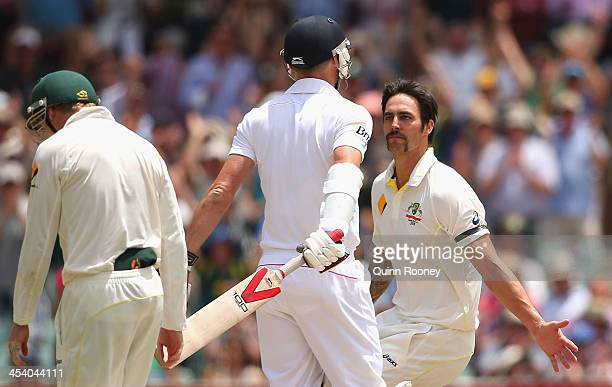 Mitchell Johnson of Australia celebrates after taking the wicket of James Anderson of England during day three of the Second Ashes Test match between...