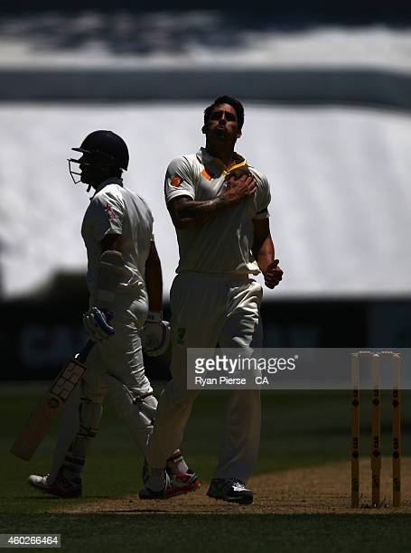 Mitchell Johnson of Australia celebrates after taking the wicket of Murali Vijay of India during day three of the First Test match between Australia...