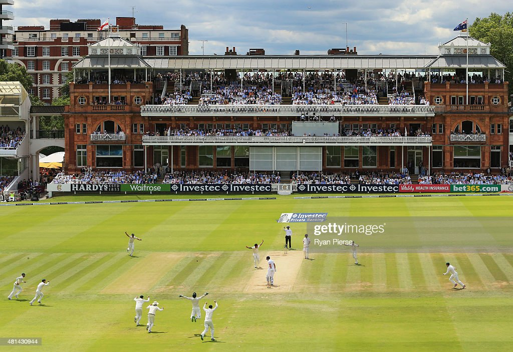 Mitchell Johnson of Australia celebrates after taking the wicket of Alastair Cook of England during day four of the 2nd Investec Ashes Test match between England and Australia at Lord's Cricket Ground on July 19, 2015 in London, United Kingdom.