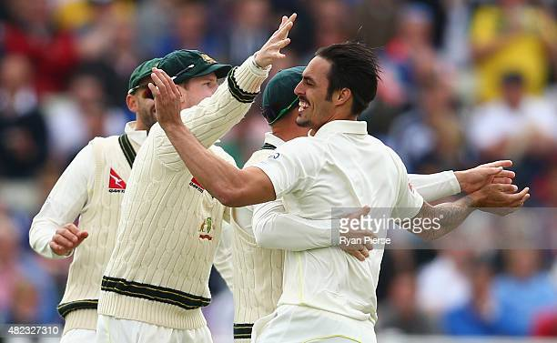 Mitchell Johnson of Australia celebrates after taking the wicket of Ben Stokes of England during day two of the 3rd Investec Ashes Test match between...