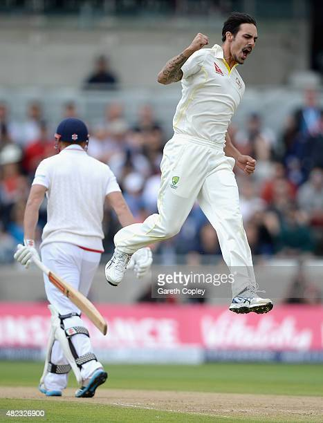 Mitchell Johnson of Australia celebrates dismissing Jonathan Bairstow of England during day two of the 3rd Investec Ashes Test match between England...