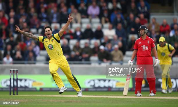 Mitchell Johnson of Australia celebrates dismissing Kevin Pietersen of England during the third NatWest One Day International Series match between...