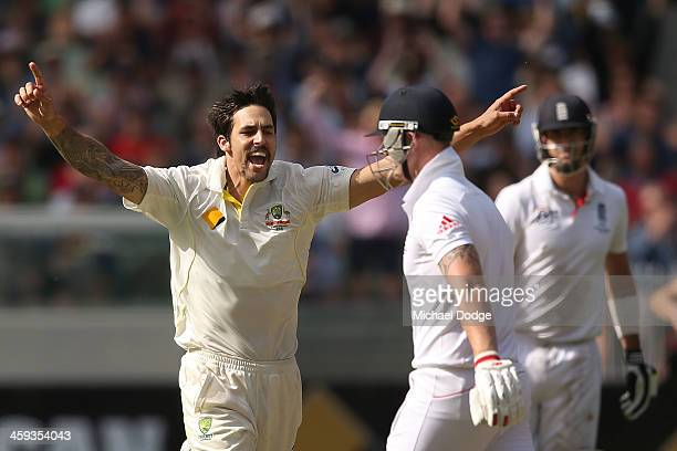 Mitchell Johnson of Australia celebrates his dismissal of Ben Stokes of England during day one of the Fourth Ashes Test Match between Australia and...