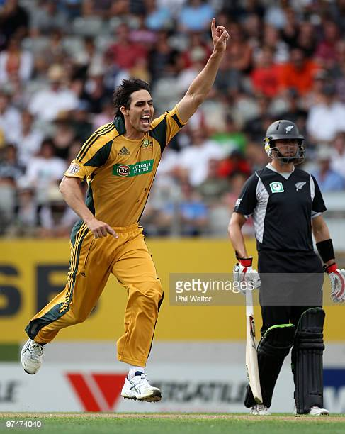 Mitchell Johnson of Australia celebrates his wicket of Brendon McCullum of New Zealand during the Second One Day International match between New...