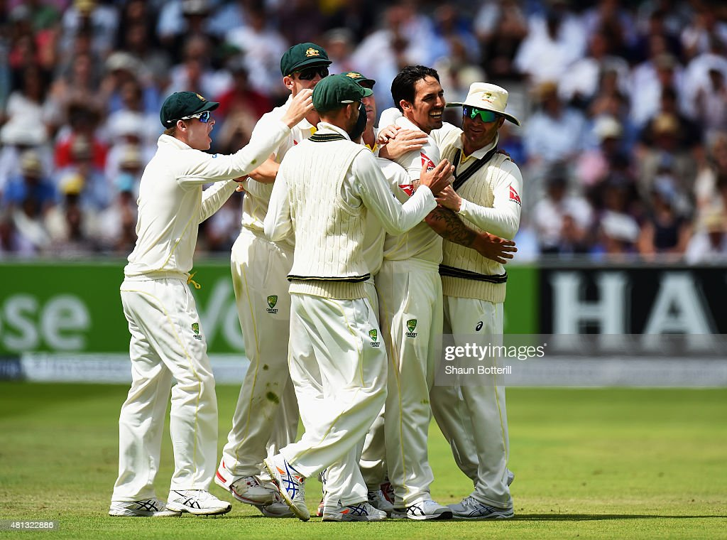 Mitchell Johnson of Australia celebrates with team-mates after taking the wicket of Alastair Cook of England during day four of the 2nd Investec Ashes Test match between England and Australia at Lord's Cricket Ground on July 19, 2015 in London, United Kingdom.