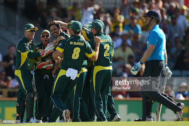 Mitchell Johnson of Australia is congratulated by team mates after the dismissal Eoin Morgan of England during the final match of the Carlton Mid One...