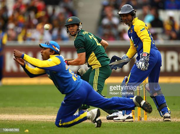 Mitchell Johnson of Australia looks on as Mahela Jayawardene of Sri Lanka fails to hold onto a catch during the Commonwealth Bank Series match...
