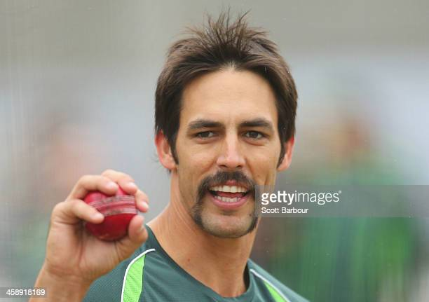 Mitchell Johnson of Australia looks on during an Australian Ashes training session at the Melbourne Cricket Ground on December 23 2013 in Melbourne...