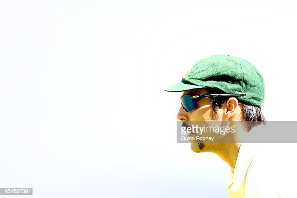 Mitchell Johnson of Australia looks on during day two of the Second Ashes Test match between Australia and England at Adelaide Oval on December 6...