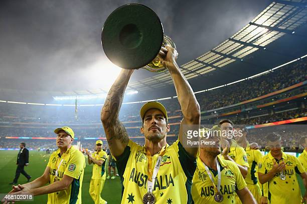 Mitchell Johnson of Australia of Australia celebrates during the 2015 ICC Cricket World Cup final match between Australia and New Zealand at...