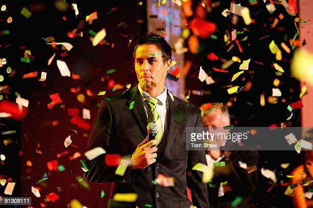 Mitchell Johnson of Australia on stage to collect his award for The ICC Cricketer of the Year during the ICC Annual Awards Ceremony held at the...