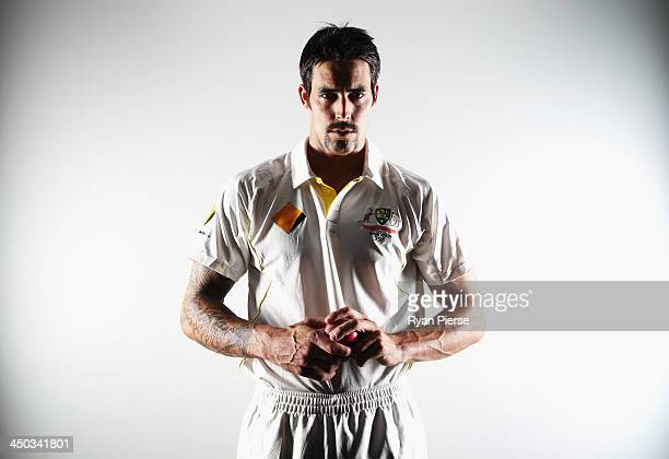 Mitchell Johnson of Australia poses during an Australian Test Player Portrait Session on November 18 2013 in Brisbane Australia