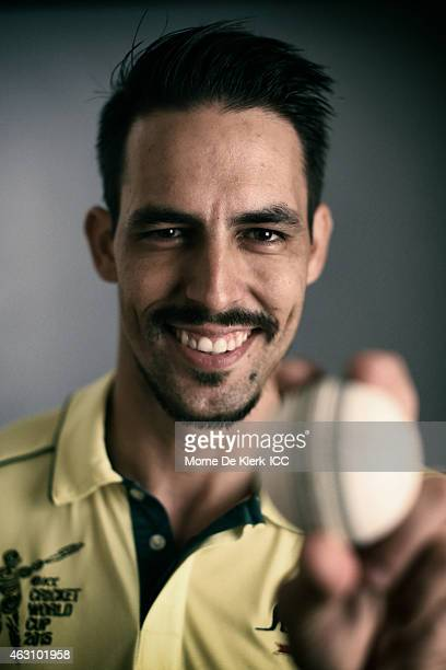 Mitchell Johnson of Australia poses during the Australia 2015 ICC Cricket World Cup Headshots Session at the Intercontinental on February 7 2015 in...