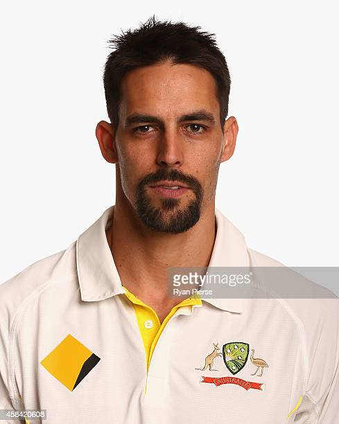 Mitchell Johnson of Australia poses during the Australia Test team headshots session at the Intercontinental Hotel on August 11 2014 in Sydney...