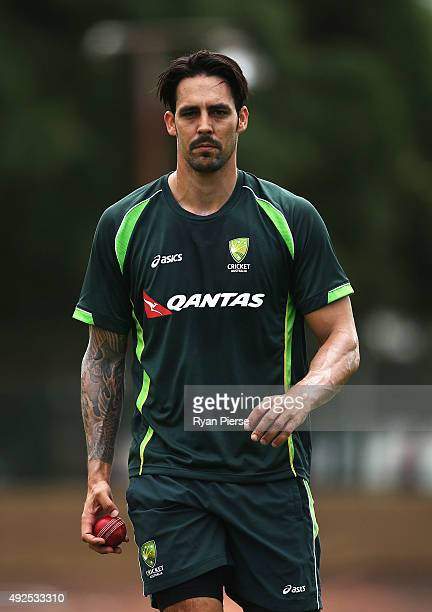 Mitchell Johnson of Australia prepares to bowl during the Australian Test Players red ball player camp at Hurstville Oval on October 14 2015 in...