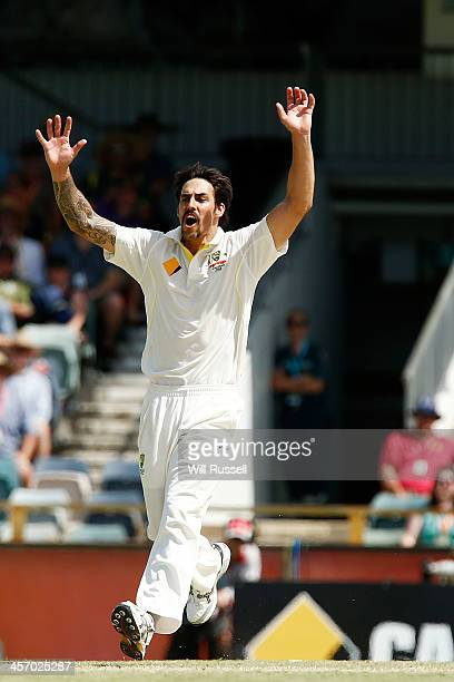 Mitchell Johnson of Australia reacts after just missing the wicket of Ian Bell during day four of the Third Ashes Test Match between Australia and...