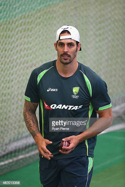 Mitchell Johnson of Australia reacts while bowling during an Australian Nets Session at Edgbaston on July 26 2015 in Birmingham England