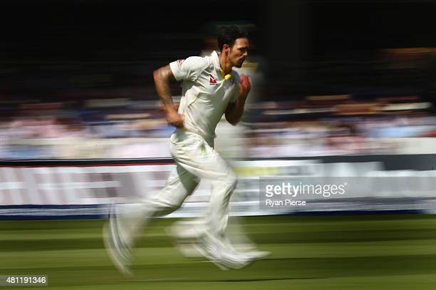 Mitchell Johnson of Australia runs in to bowl during day three of the 2nd Investec Ashes Test match between England and Australia at Lord's Cricket...