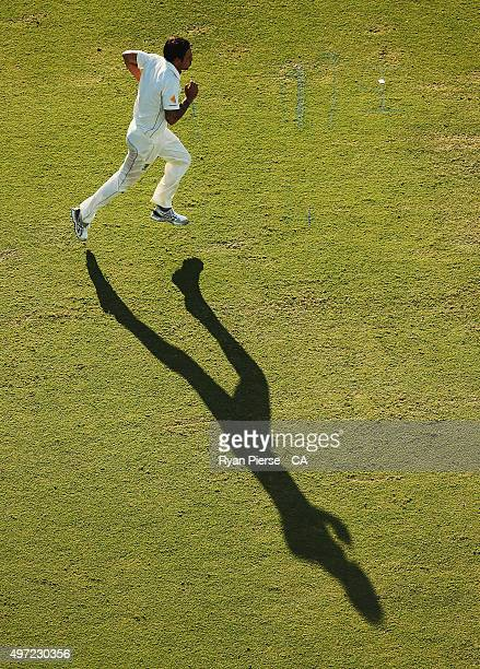 Mitchell Johnson of Australia runs in to bowl during day three of the second Test match between Australia and New Zealand at WACA on November 15 2015...
