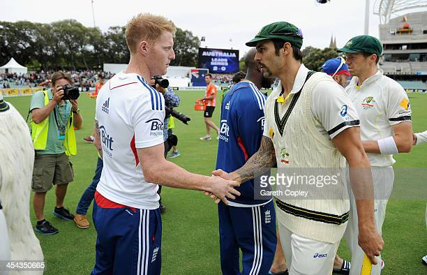 Mitchell Johnson of Australia shakes hands Ben Stokes of England after day five of Second Ashes Test Match between Australia and England at Adelaide...