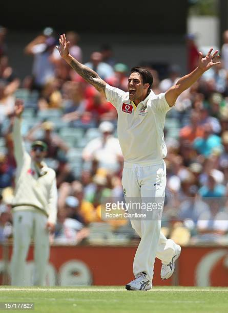 Mitchell Johnson of Australia unsuccessfully appeals for the wicket of Alviro Petersen of South Africa during day one of the Third Test Match between...