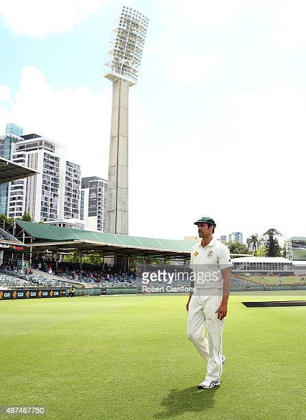 Mitchell Johnson of Australia walks onto the ground during day five of the second Test match between Australia and New Zealand at the WACA on...