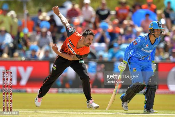 Mitchell Johnson of the Perth Scorchers bowls during the Big Bash League match between the Adelaide Strikers and the Perth Scorchers at Traeger Park...
