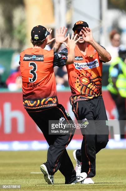 Mitchell Johnson of the Perth Scorchers catches Jake Lehmann of the Adelaide Strikers during the Big Bash League match between the Adelaide Strikers...
