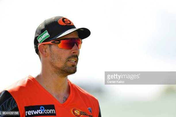 Mitchell Johnson of the Perth Scorchers looks on during the Big Bash League match between the Adelaide Strikers and the Perth Scorchers at Traeger...