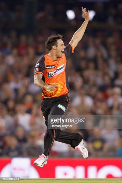 Mitchell Johnson of the Perth Scorchers takes the wickwt of Aaron Finch of the Melbourne Renegades during the Big Bash League match between the...