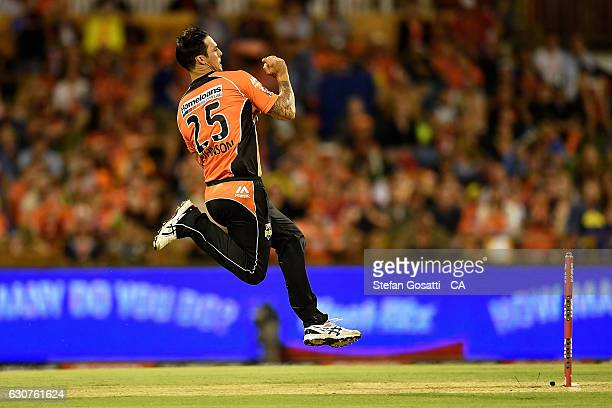 Mitchell Johnson of the Scorchers bowls during the Big Bash League match between the Perth Scorchers and Sydney Thunder at WACA on January 1 2017 in...