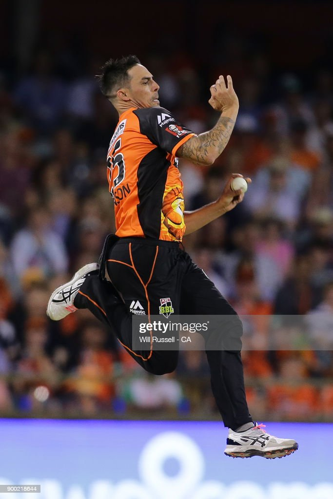 Mitchell Johnson of the Scorchers bowls during the Big Bash League match between the Perth Scorchers and the Sydney Sixers at WACA on January 1, 2018 in Perth, Australia.