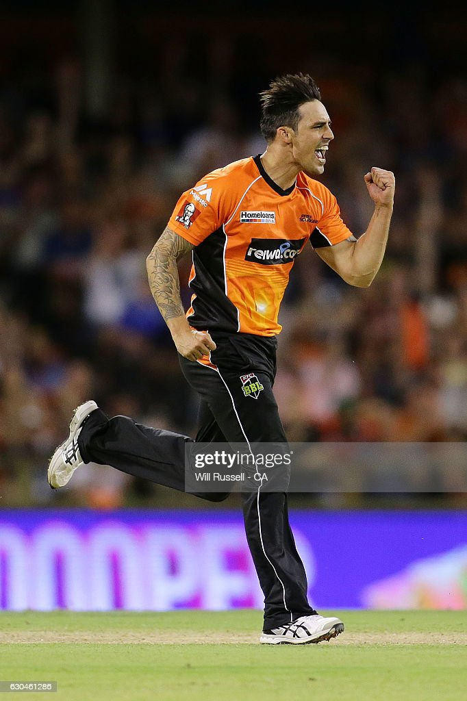 Mitchell Johnson of the Scorchers celebrates after taking the wicket of Brad Hodge of the Strikers during the Big Bash League between the Perth Scorchers and Adelaide Strikers at WACA on December 23, 2016 in Perth, Australia.