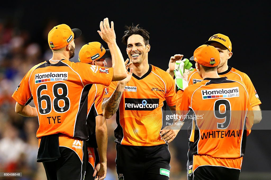 Mitchell Johnson of the Scorchers celebrates the wicket of Michael Neser of the Strikers during the Big Bash League between the Perth Scorchers and Adelaide Strikers at WACA on December 23, 2016 in Perth, Australia.