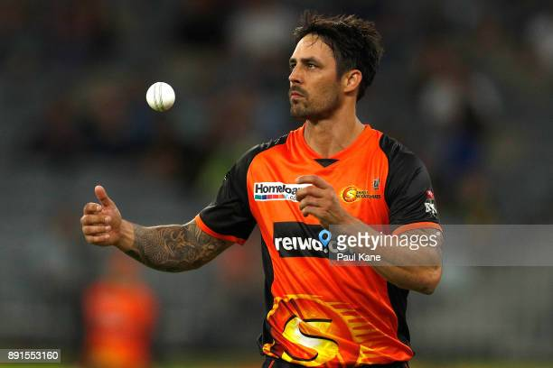 Mitchell Johnson of the Scorchers prepares to bowl during the Twenty20 match between the Perth Scorchers and England Lions at Optus Stadium on...