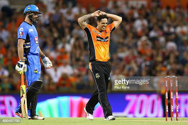 Mitchell Johnson of the Scorchers reacts after a delivery during the Big Bash League between the Perth Scorchers and Adelaide Strikers at WACA on...
