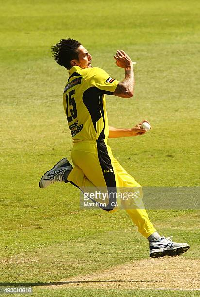 Mitchell Johnson of the Warriors bowls during the Matador BBQs One Day Cup match between Tasmania and Western Australia at Drummoyne Oval on October...