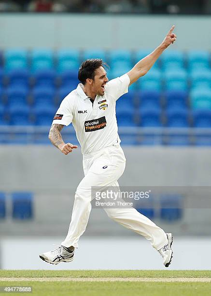 Mitchell Johnson of Western Australia celebrates after claiming the wicket of Ben Dunk of Tasmania during day two of the Sheffield Shield match...
