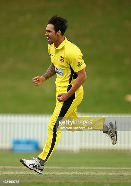 Mitchell Johnson of Western Australia celebrates taking the wicket of Peter Forrest of Queensland during the Matador BBQs One Day Cup match between...