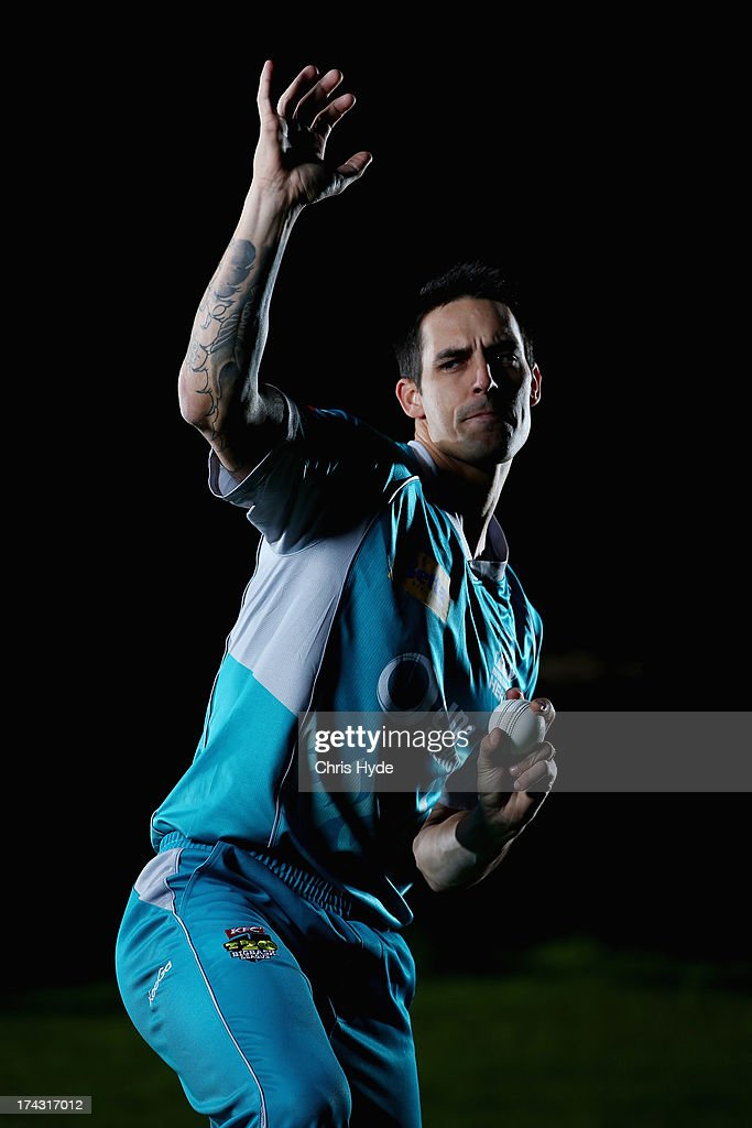 Mitchell Johnson poses during a Brisbane Heat Big Bash League media day at JC Slaughter Fields on July 24, 2013 in Brisbane, Australia.