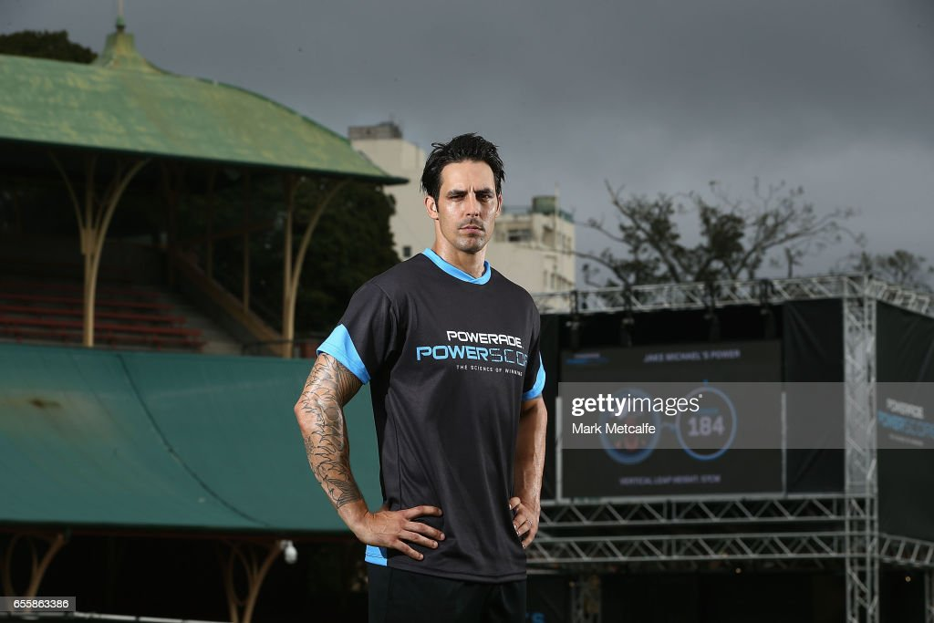 Mitchell Johnson poses during the Powerade Powerscore Launch Event at North Sydney Oval on March 21, 2017 in Sydney, Australia.