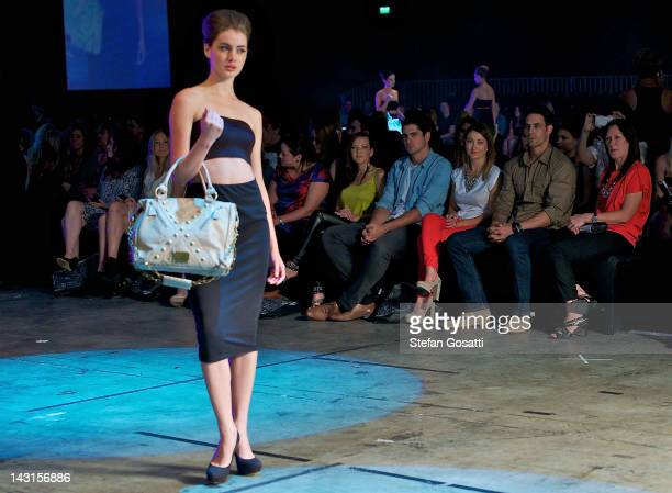 Mitchell Johnson sits front row at the Jessica Bratich showcase as part of the New Gen parade Perth Fashion Week 2012 at Perth Convention and...